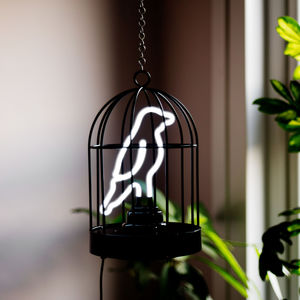 Neon Bird In A Cage Light - children's room