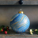 Marbled Ceramic Bauble - Blue, Gold & Copper