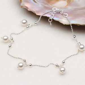 Personalised Sterling Silver And Pearl Anklet