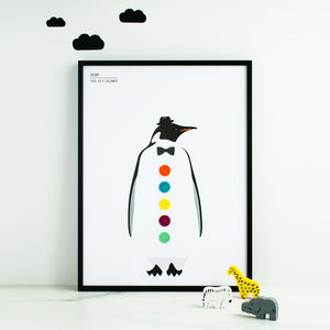 Dapper Penguin Personalised Print With Felt - baby's room
