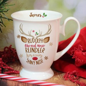 Bone China Rudolph Reindeer Personalised Mug - mugs