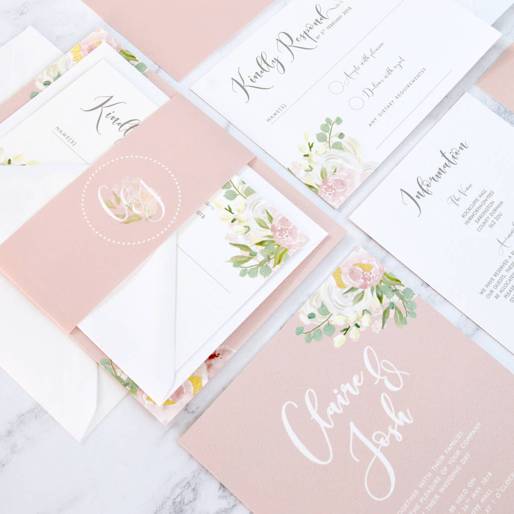 Floral And Gold Silver Copper Wedding Invitation