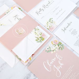 Floral And Gold/Silver/Copper Wedding Invitation