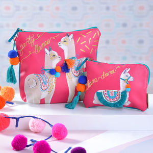 Llama Pouches With Pom Poms - make-up bags