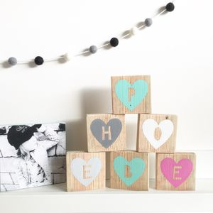 Personalised Decorative Heart Letter Blocks - children's room