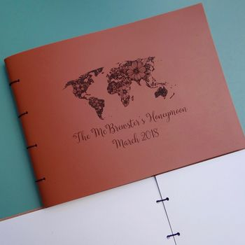Honeymoon Personalised Leather Travel Scrapbook Album