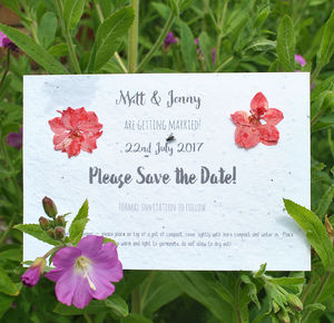Seed Paper Save The Date With Pressed Flowers - what's new