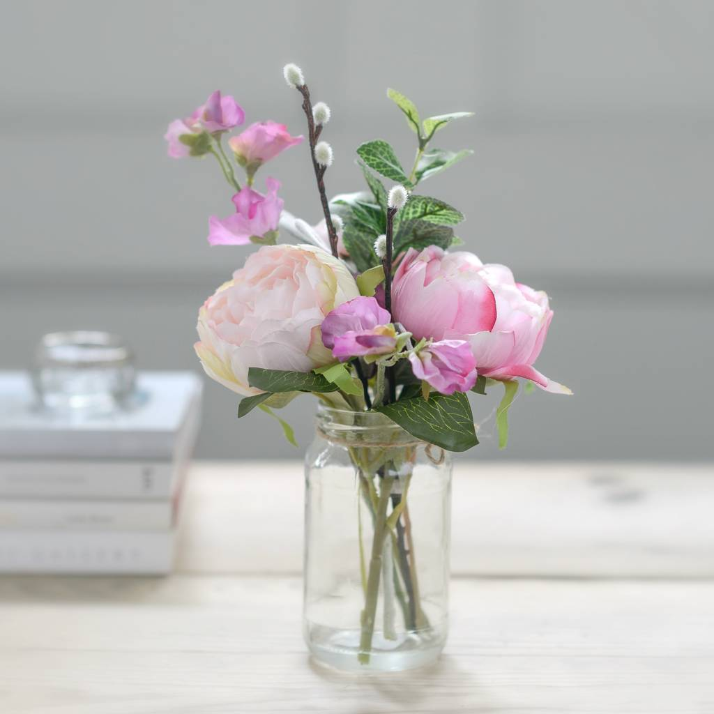 Faux Pink Peony And Sweet Pea Flowers With Little Vase