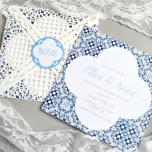 Mediterranean Blue Tile And Lace Wedding Invitation