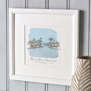 Our Favourite Place Watercolour Sketch - personalised