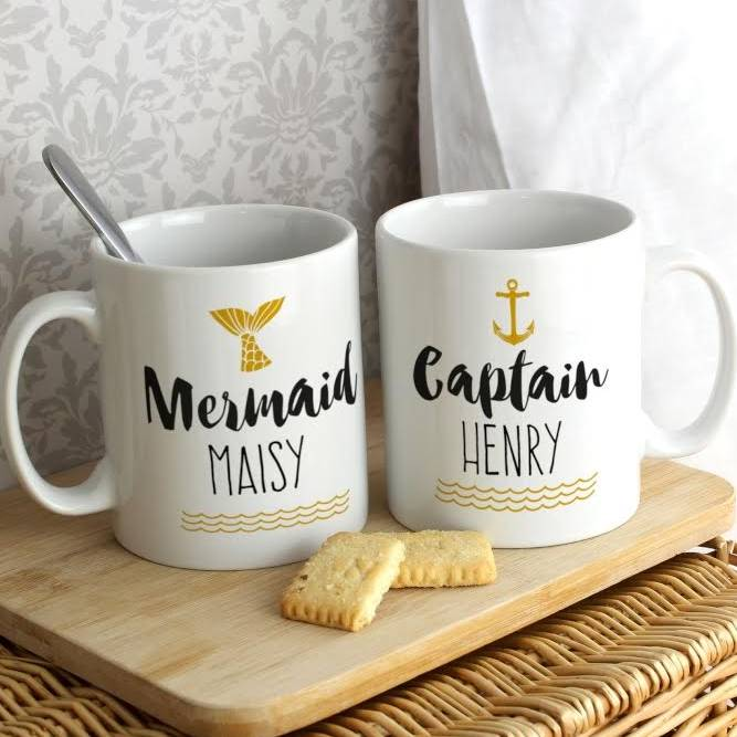 cdecf6b9e9c personalised mermaid and captain mug set by the letteroom ...