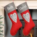 His And Hers Personalised Nordic Red Heart Stockings