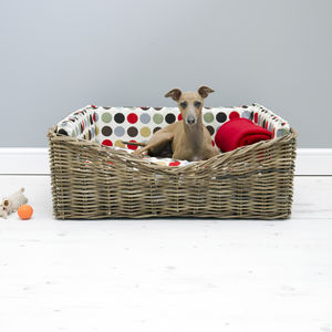 Charley Chau Dressed Rattan Pet Basket - dogs