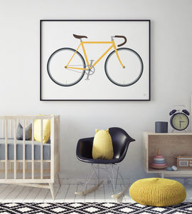 Bicycle Print Many Colours - posters & prints