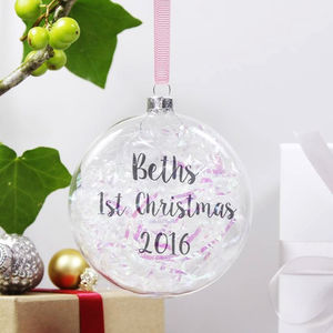 Personalised Iridescent 1st Christmas Flat Bauble - tree decorations