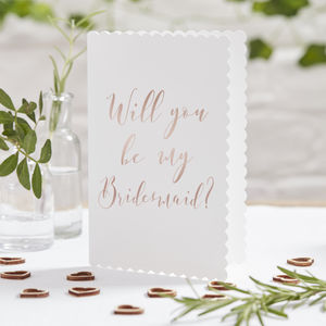 Rose Gold Foiled Will You Be My Bridesmaid Cards - summer sale