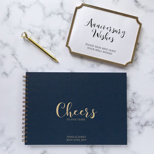 Anniversary Cheers Guest Book, Memory Book Or Album