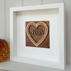 Bronze 8th Wedding Anniversary Oak Heart