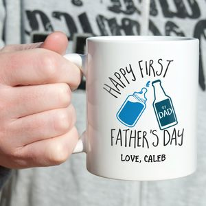 Personalised 'First Father's Day' Typography Mug