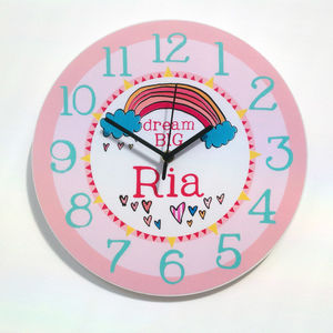 Dream Big Personalised Wall Clock - baby's room