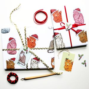 Cat Christmas Wrapping Paper Gift Set - winter sale