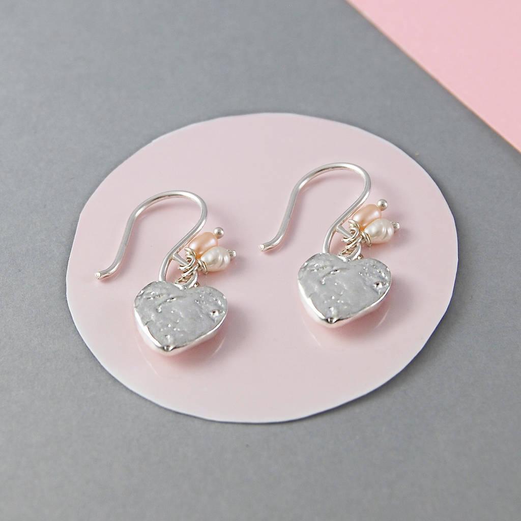 Freshwater Pearl Sterling Silver Heart Earrings
