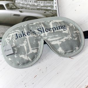 Men's Personalised Luxury Sleep Mask Grey Splash Print