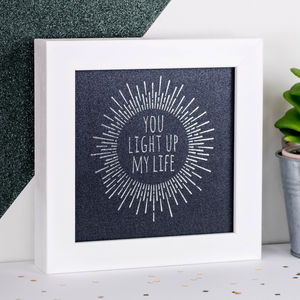 Framed Silver Foil 'Light Up My Life' Iridescent Print