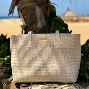 Personalised Natural Woven Straw Beach Bag - sun appreciation society