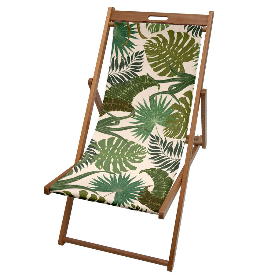 tropical palm print garden deckchair by more by design. Black Bedroom Furniture Sets. Home Design Ideas