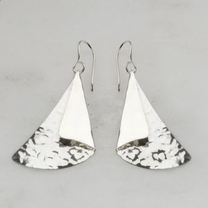 Dual Textured Triangle Sterling Silver Drop Earrings - new in jewellery