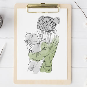 Watercolour Line People Portrait - gifts for mothers
