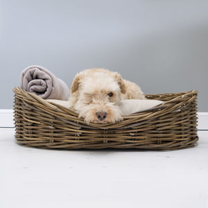 Greywash Rattan Dog Basket And Reversible Mattress - dogs