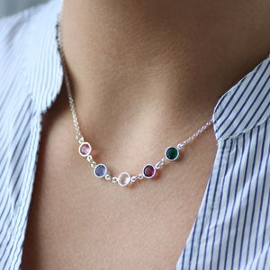Family Birthstone Link Necklace - gifts for mothers