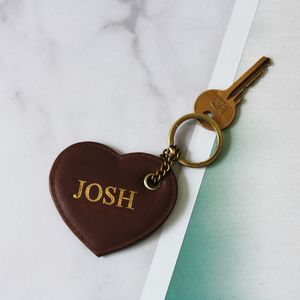 Personalised Leather And Brass Heart Keyring