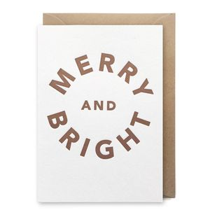 'Merry And Bright' Box Of Six Christmas Cards