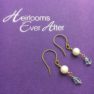 9ct Gold, Pearl And Blue Topaz Earrings - earrings