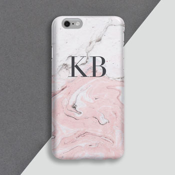 Personalised Pink Marble Phone Case