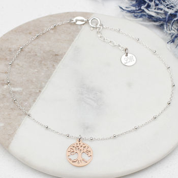 Personalised Silver And Gold Tree Of Life Anklet