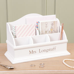 Personalised Thank You Teacher Wooden Desk Tidy - office & study