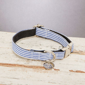 The Chichester Horizontal Blue Striped Dog Collar