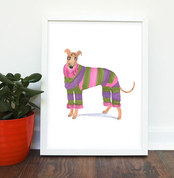 Greyhound Dog Print Framed - No Mount