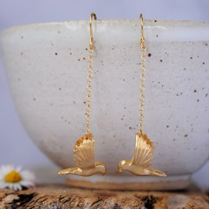 Gold Bird Earrings - earrings