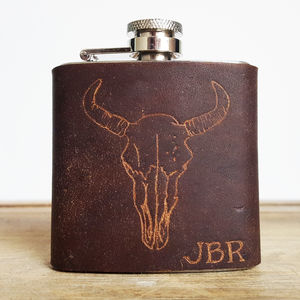 Personalised Bison Skull Leather Hip Flask