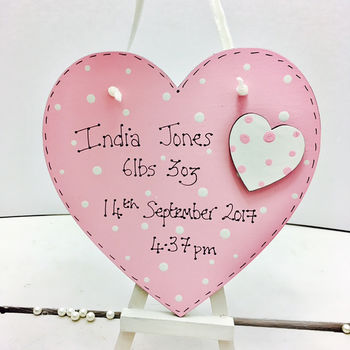 New Baby Personalised Wooden Heart