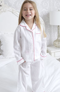 Personalised Girl's White And Pink Cotton Pyjama's