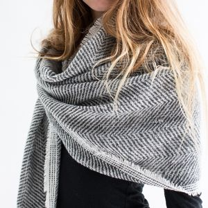 Personalised Grey Herringbone Scarf - keeping cosy