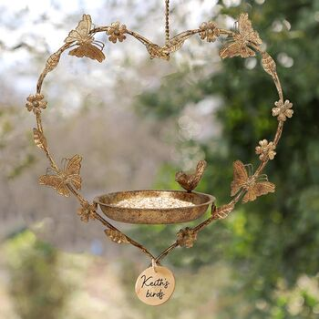Personalised Butterfly Hanging Heart Bird Dish