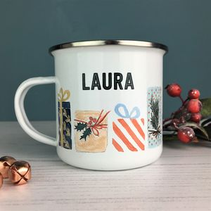 Christmas Present Enamel Mug - table decorations