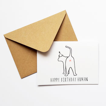 Funny Cat Lover Birthday Card 'Happy Birthday Human'